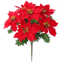 Poinsettia artificială, de Crăciun, roșu, 30 cm
