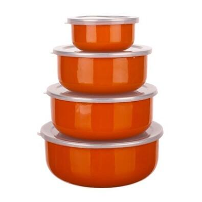 Belly 8 részes zománcozott tálkakészlet, narancssárga