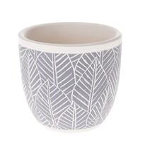 Recipient ceramic ghiveci Frunze, albastru, 13,5x 12,5 x 13,5 cm