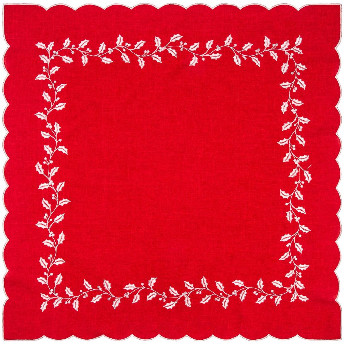 Vánoční ubrus Cesmína červená, 35 x 35 cm
