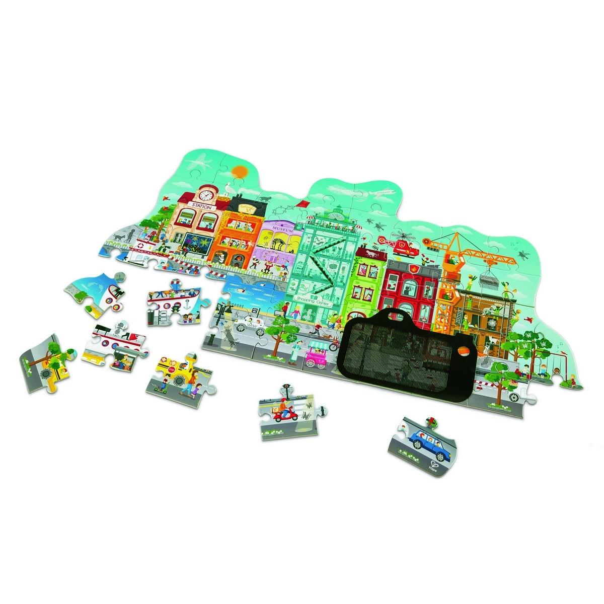 Hape Puzzle Animované městečko v pohybu, 49 dílků