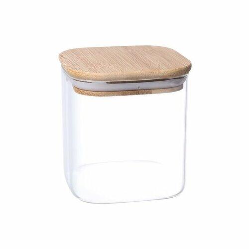 Recipient de sticlă 4Home pentru alimente cu  capac Bamboo, 550 ml