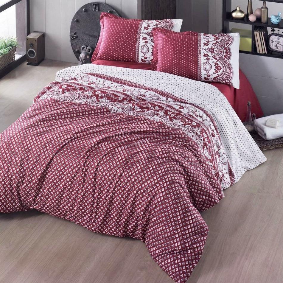 Kvalitex Bavlnené obliečky Canzone červená, 200 x 200 cm, 2 ks 70 x 90 cm