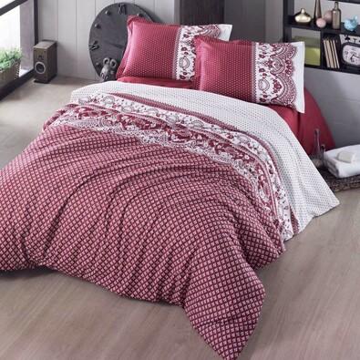 Bavlněné povlečení Canzone červená, 200 x 200 cm, 2 ks 70 x 90 cm