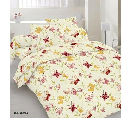Saténové obliečky Motýľ, 140x200, 70x90 cm, tmavo červená