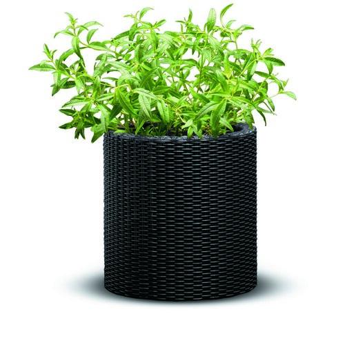 Jardinieră din plastic Keter Ratan, antracit, 28 x28 x 28,3 cm
