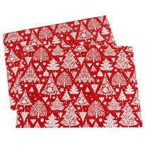 Traversă masă Pom de Crăciun, roșie, 32 x 45 cm, set 2 buc.