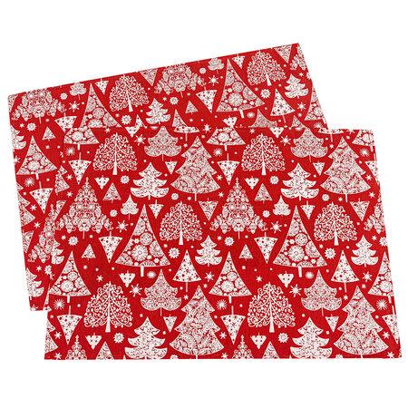 Karácsonyfa karácsonyi alátét, piros, 32 x 45 cm, 2 db-os szett