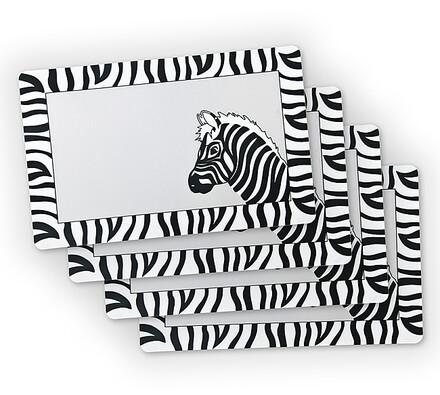 Prostírání transparentní zebra 44x28 cm plast, 4 k, bílá + černá, 44 x 28 cm