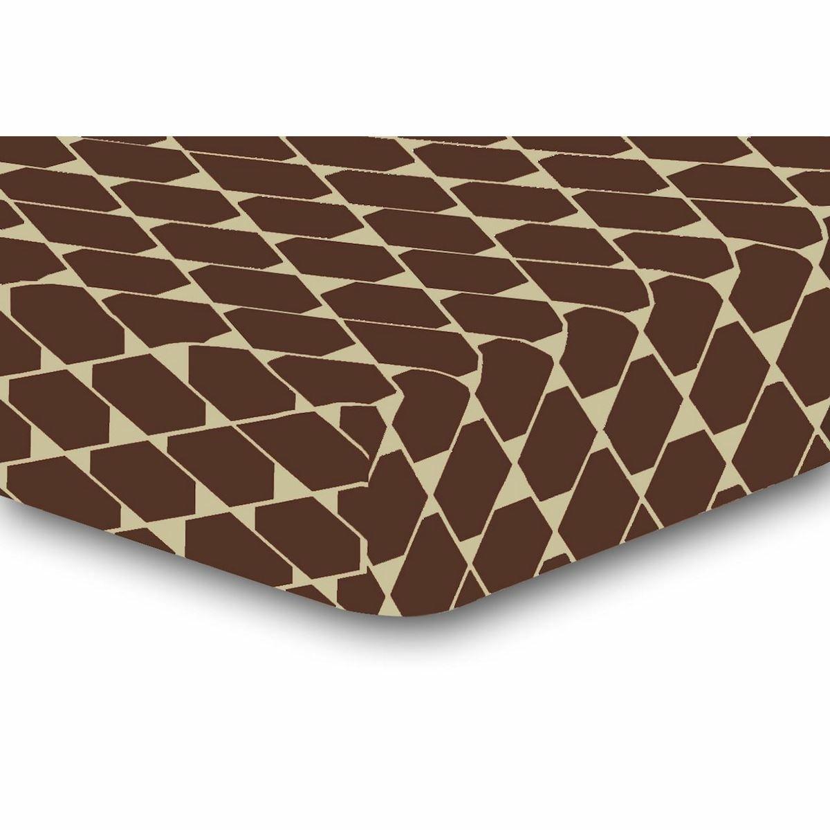 DecoKing Prostěradlo Rhombuses hnědá S2, 180 x 200 cm