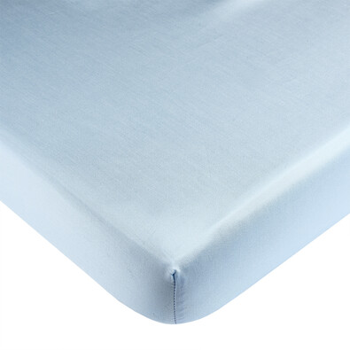 Saténové prostěradlo s gumou modrá, 90 x 200 cm