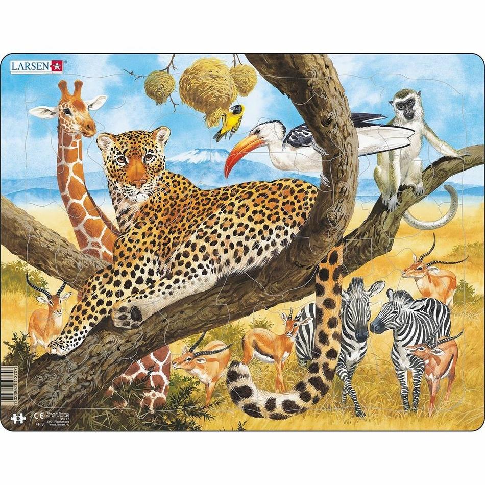 Larsen Puzzle Zvieratá v Afrike, 48 dielikov