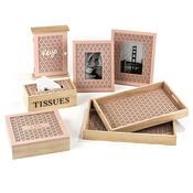 Dřevěný box na kapesníky Trento růžová, 24 x 13 cm