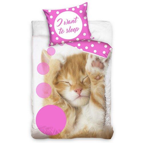 Pamut ágyneműhuzat Sleeping Little Cat, 140 x 200 cm, 70 x 90 cm