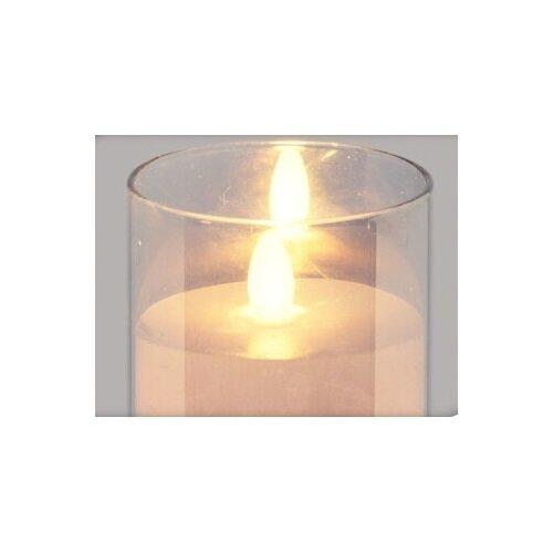 Skleněný svícen s LED svíčkou a časovačem, 10 cm, růžová
