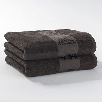 Ručník bambusový tmavě hnědý, 50 x 90 cm, sada 2 ks