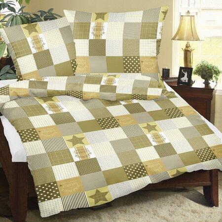 Bellatex Krepové obliečky Patchwork hnedá, 140 x 220 cm, 70 x 90 cm