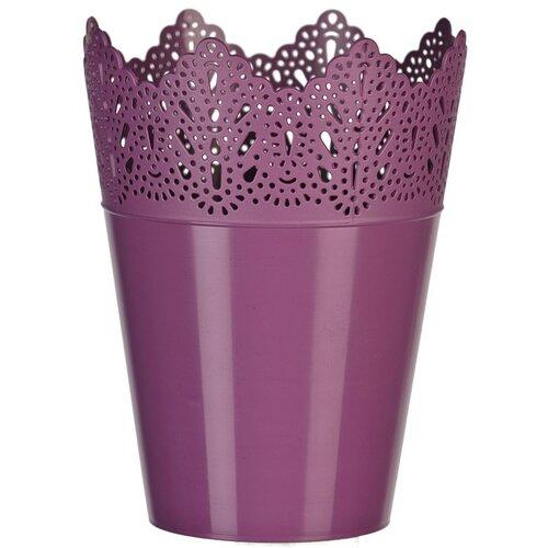 Plastový obal na kvetináč Čipka 15 cm, fialová