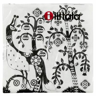 Papírové ubrousky Taika 24 x 24 cm, černobílé