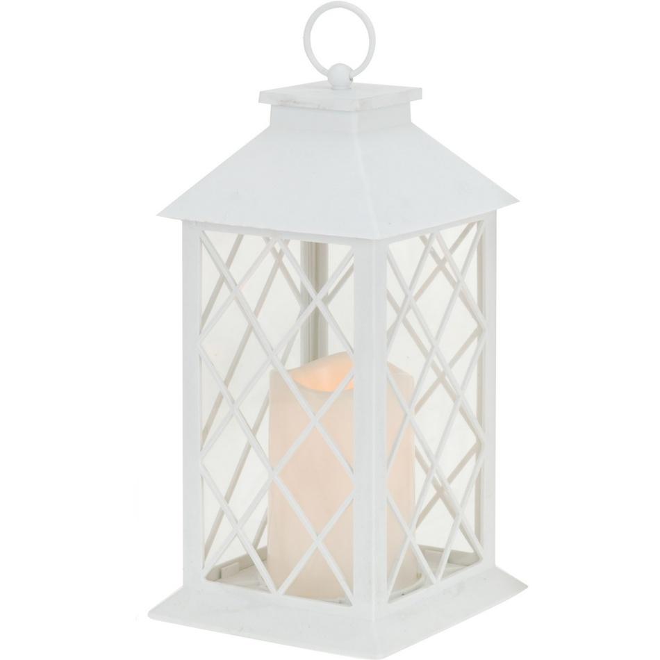 Lucerna s LED svíčkou Costola, bílá