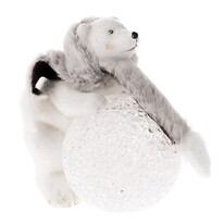 Keramická dekorace Medvídek s LED osvětlením, 13,5 x 13,5 cm