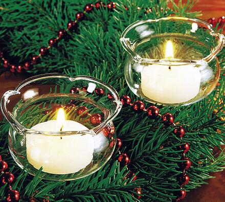 Skleněný držák svíček, 4 kusy