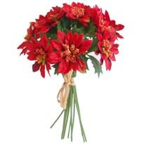 Sztuczna wiązanka Poinsecja czerwony, 20 cm