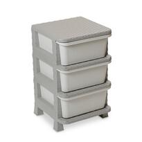 Komoda 3 zásuvky Ratan, sivá