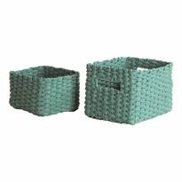 Compactor 2-częściowy komplet koszyków wyplatanych Lisou, zielony