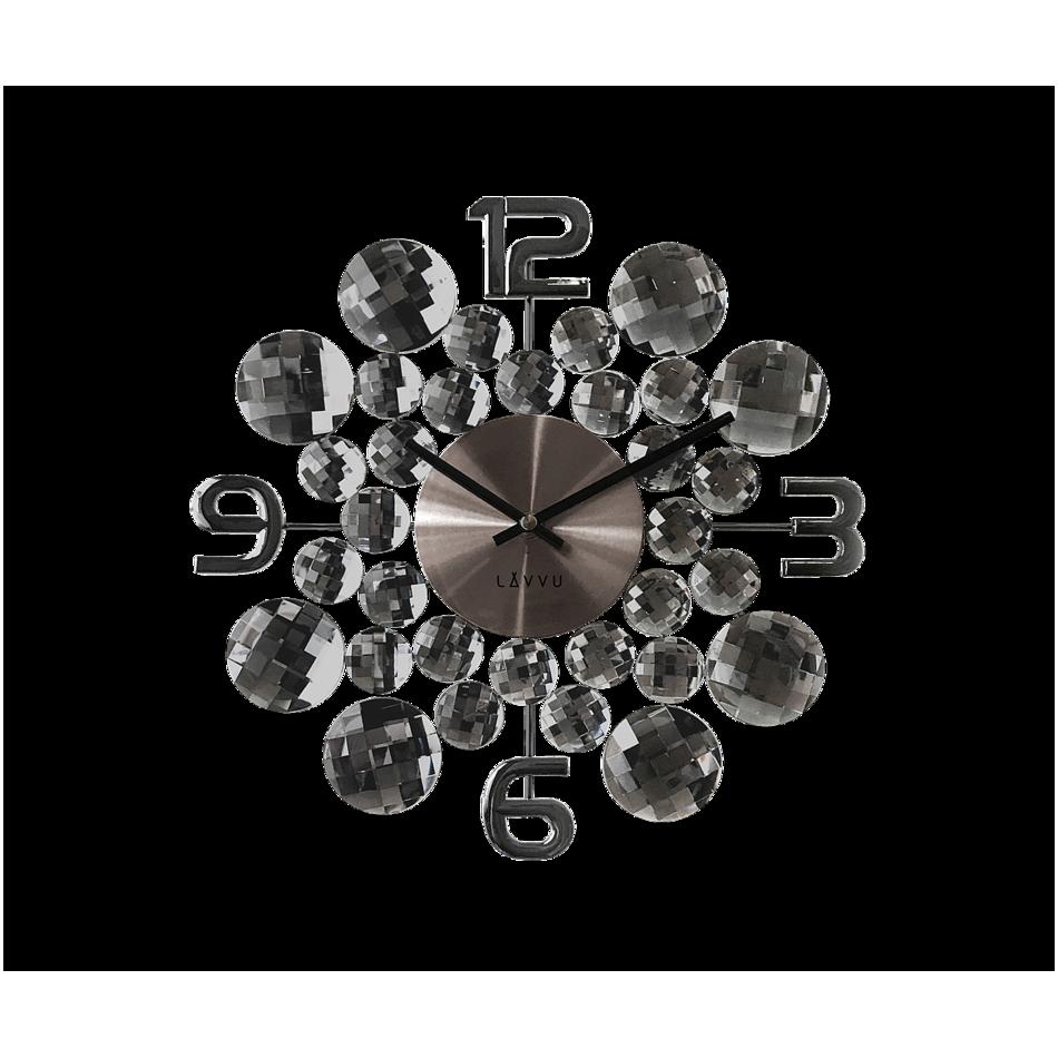 LCT1031 Nástěnné hodiny LAVVU CRYSTAL Jewel, antracitová