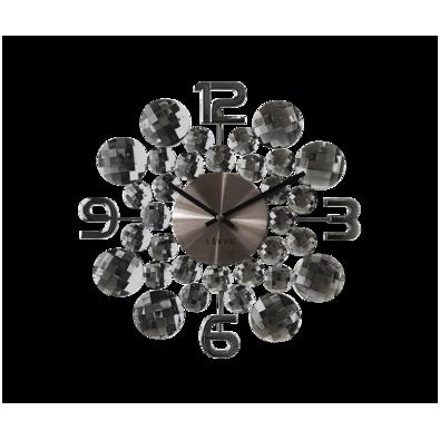 Zegar ścienny Lavvu Crystal Jewel antracytowy, śr. 34 cm