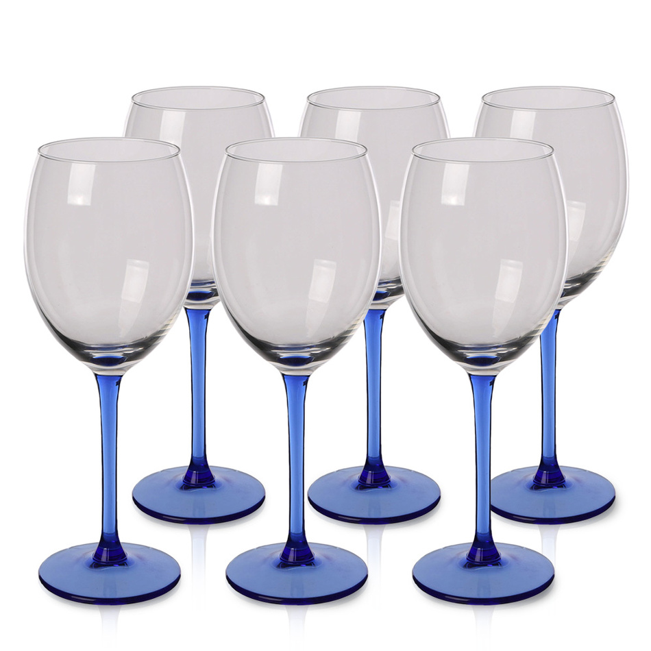6-dielna sada pohárov na víno Blue, 330 ml