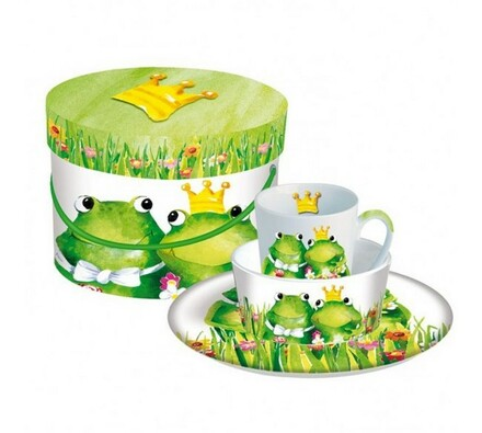 Detský raňajkový set žaba, biela + zelená