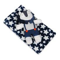 Pătură de copii, albastru, cu steluțe, cu jucărie din pluș leu, 75 x 100 cm