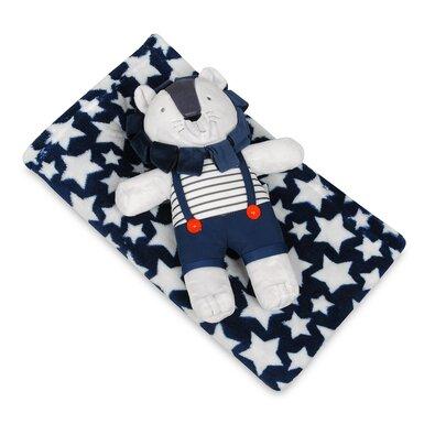 Dětská deka modrá s hvězdami s plyšákem lev, 75 x 100 cm