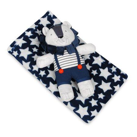 Gyermek takaró plüssjátékkal, kék, oroszlános, 75 x 100 cm