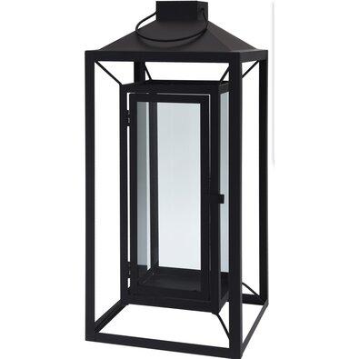 Kovový lampáš Aosta čierna, 16 x 36 cm