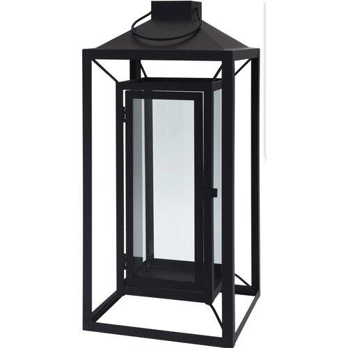 Kovová lucerna Aosta černá, 16 x 36 cm