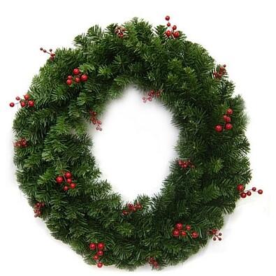 Dekorativní vánoční věnec s bobulemi, pr. 30 cm, zelená