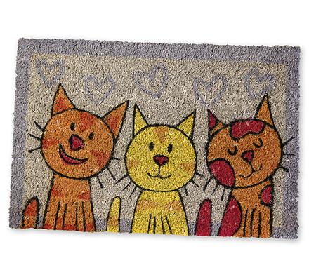 venkovní rohožka tři kočky z kokosu, 40x60 cm