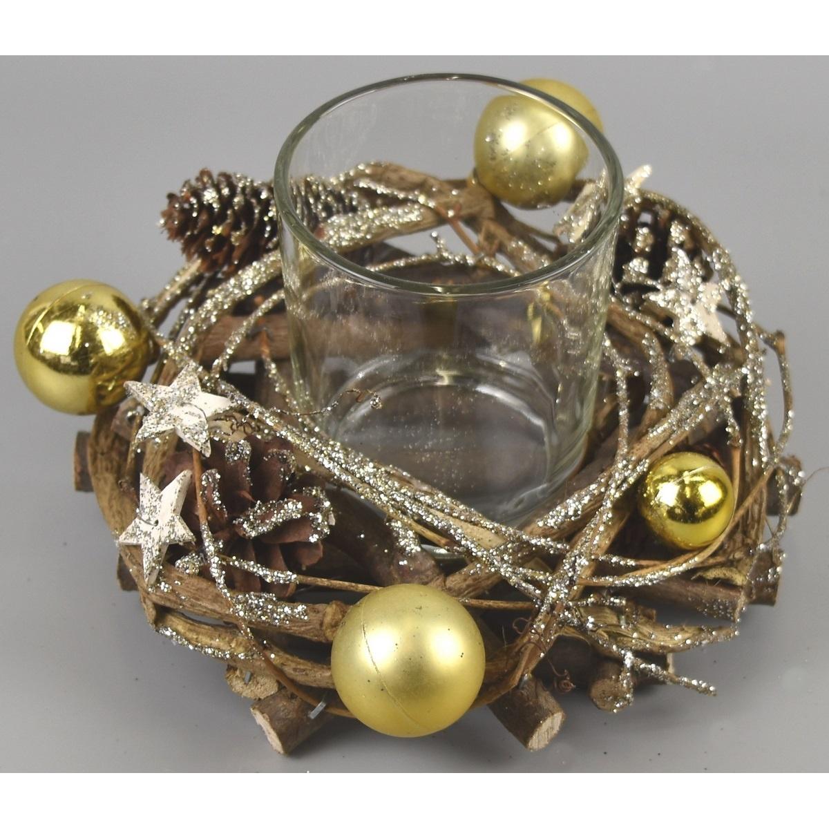 Vánoční svícen Midland zlatá, 16 x 9 cm