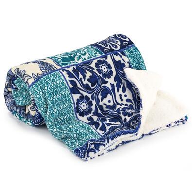 Pătură imitație blăniță 4Home Flowers, albastru, 150 x 200 cm