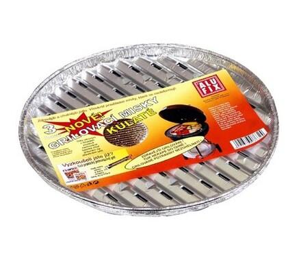 Grilovací misky -  kulaté, 3 ks, stříbrná, 34 cm