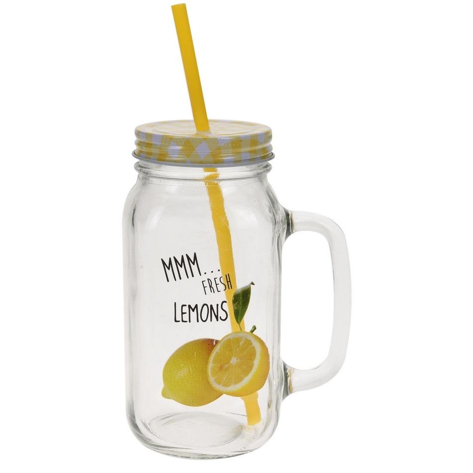 Sklenice s víčkem a brčkem Citron žlutá