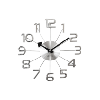 Zegar ścienny Lavvu Design Numerals srebrny, śr. 37 cm