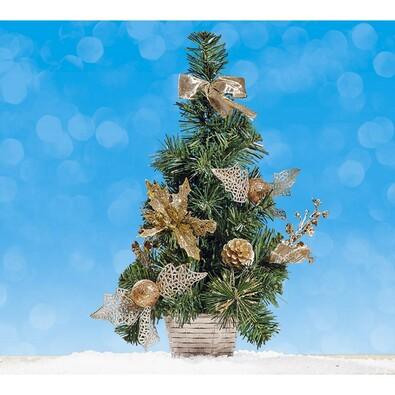 Malý vánoční stromeček zlatý, 40 cm, zlatá