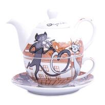 3-częściowy zestaw do herbaty Koty w mieście