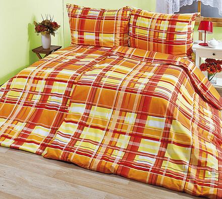 Bavlněné povlečení Káro oranžová, 140 x 220 cm, 70 x 90 cm