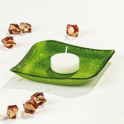 Skleněný tácek pod svíčku, zelený