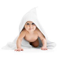Ręcznik kąpielowy dla bobasów z kapturkiem biały, 80 x 80 cm